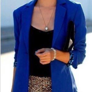 TALBOTS Sz 14 Royal Blue Wool One-Button Blazer